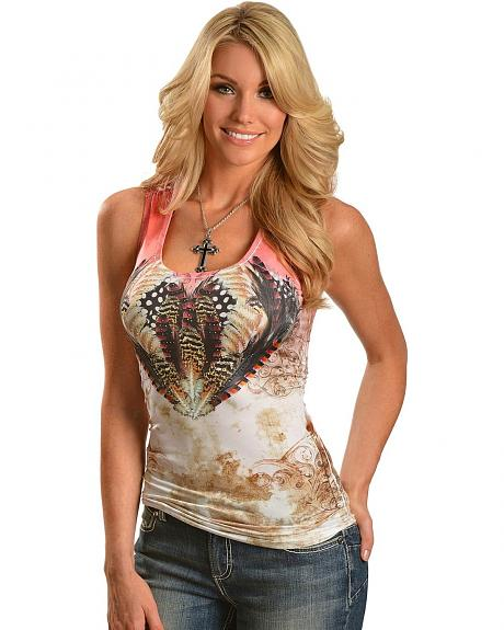 Panhandle Slim Rhinestone Feather & Scroll Lace Back Tank Top