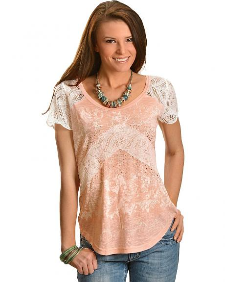 Miss Me Rhinestone & Lace Inset Short Sleeve Top