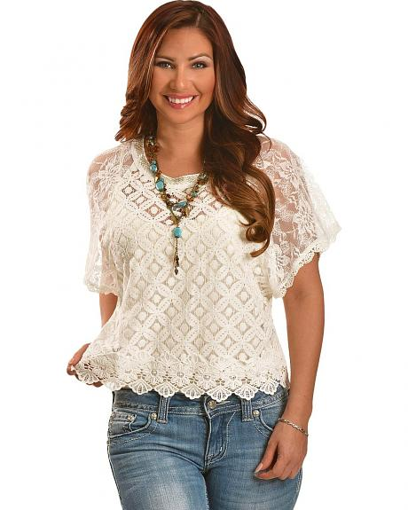 Miss Me Crocheted Lace Crop Top