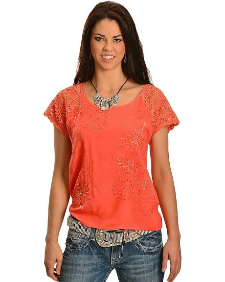Miss Me Beaded Floral Embroidery Crochet Lace Sleeves Top