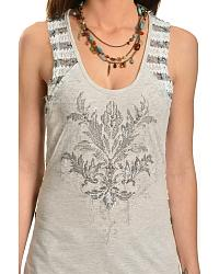 Miss Me Back Stripe Embellished Tank Top at Sheplers