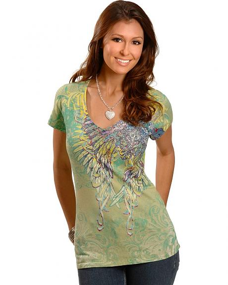 Cowgirls & Diamonds Rhinestone & Glitter Winged Short Sleeve Tee