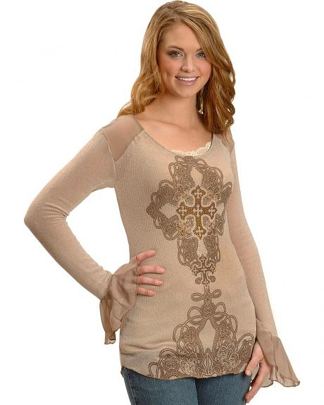 Cowgirls & Diamonds Chiffon & Knit Studded Cross Long Sleeve Top