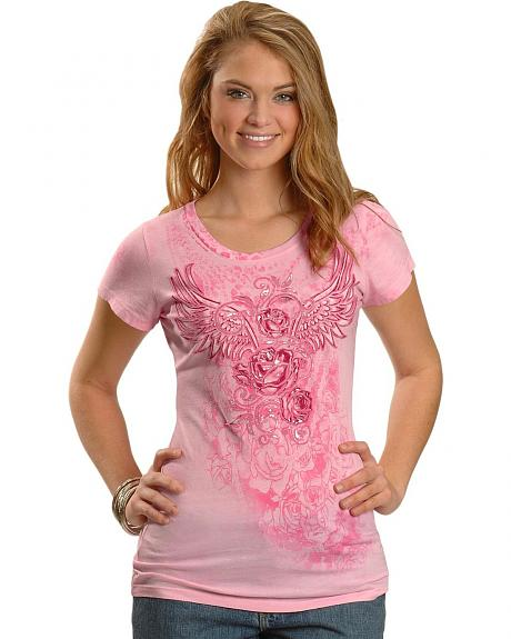Cowgirls & Diamonds Pink Foil Print Roses Overlay Tee