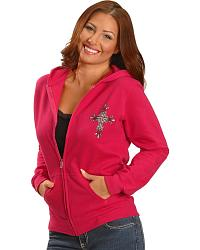 Metallic Rhinestone Cross Hot Pink Hoodie at Sheplers