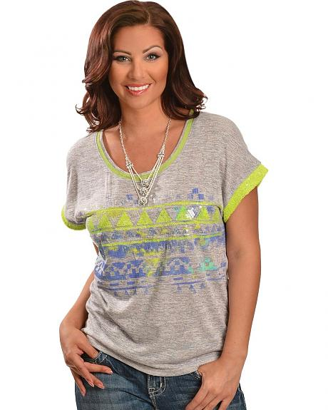 Miss Me Aztec Inspired Sequin Embellished Short Sleeve Tee
