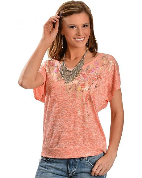 Miss Me Sequin Embellished Open Back with Beaded Embroidery Short Sleeve Tee