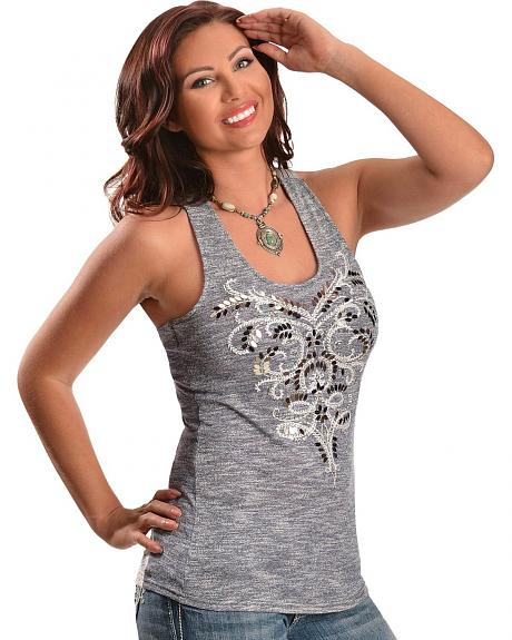 Miss Me Embroidered Leaf Beaded Tank Top