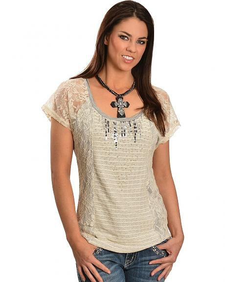 Miss Me Lace & Beaded Sequin Short Sleeve Top
