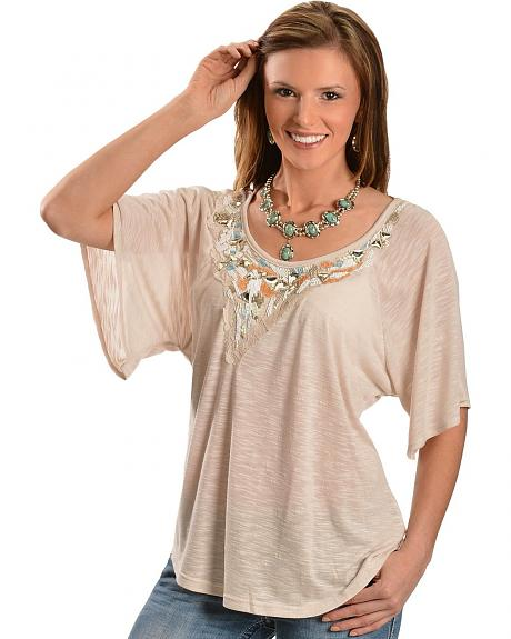 Miss Me Beaded Sequin & Rhinestone Elbow Sleeve Top