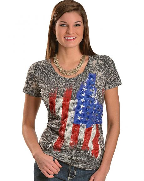 Rock & Roll Cowgirl Stars & Stripes Rhinestud Burnout Tee