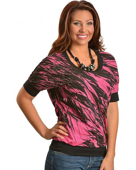 Rock & Roll Cowgirl Black & Pink Feather Print Rhinestud Embellished Top