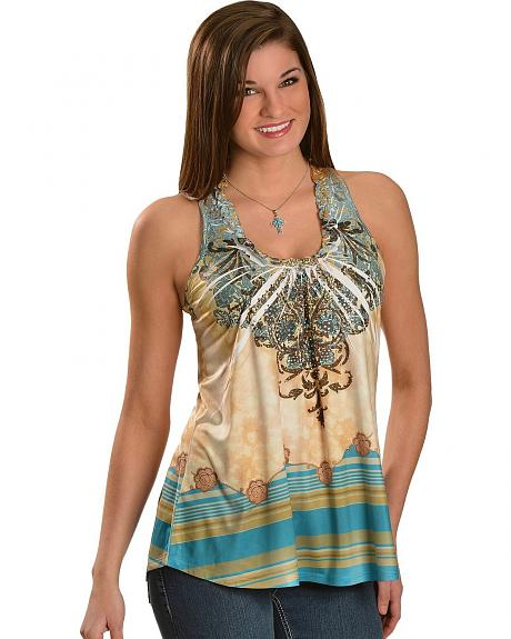 Panhandle Slim Rhinestone Sublimation with Lace Back Tank Top