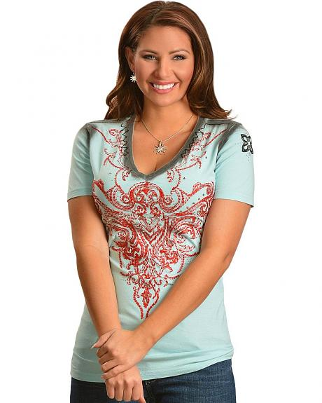 Roar Rhinestone Embellished & Red Embroidered Aquarius Sky Blue Short Sleeve Tee