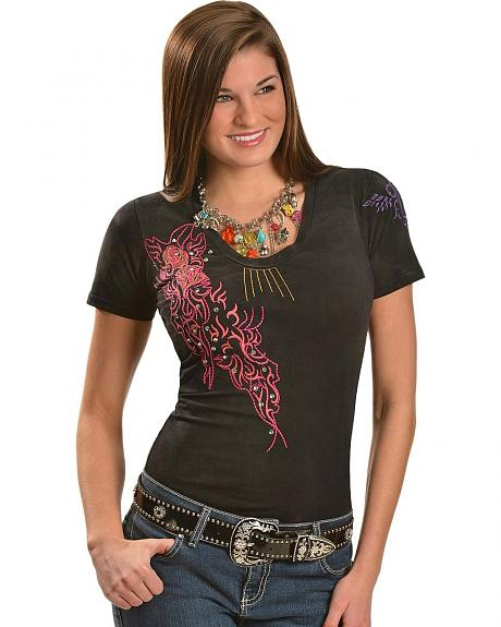 Roar Reviver Rhinestone Embroidered Short Sleeve Tee