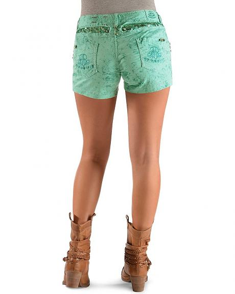 Roar Green Sequin Embellished Shorts
