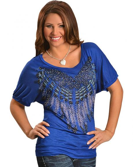 Petrol Embellished Fine Feathered Dolman Short Sleeve Top