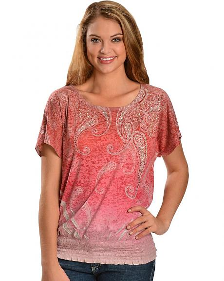 Katydid Studded Paisley Sublimation Print Short Sleeve Burnout Top