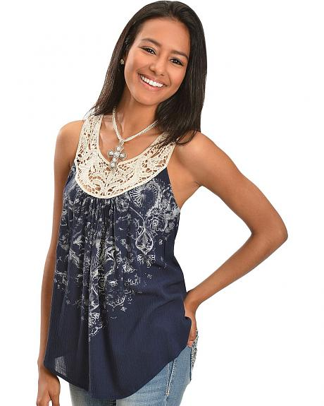 Miss Me Crocheted Lace Collar Sleeveless Top