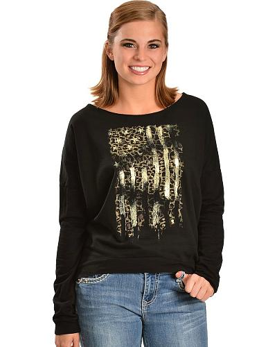 Miss Me Metallic Fleece Long Sleeve Top