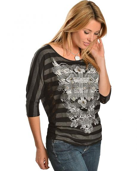 Cowgirls & Diamonds Cross & Wing Screen Print with Lace Inlay Top