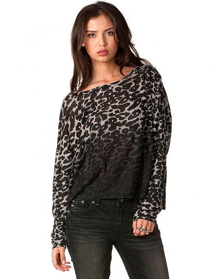 Miss Me Ombre Cheetah Print Long Sleeve Top