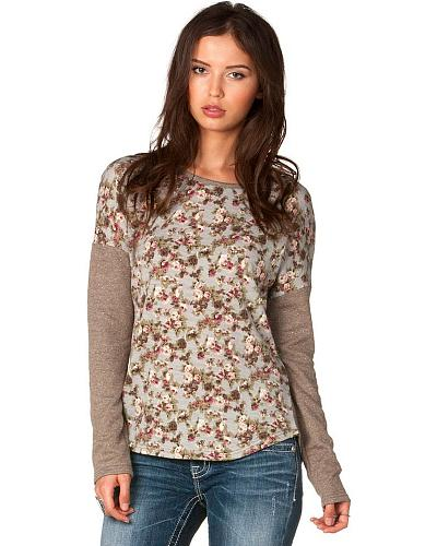Miss Me Floral Print with Constrasting Sleeves Top