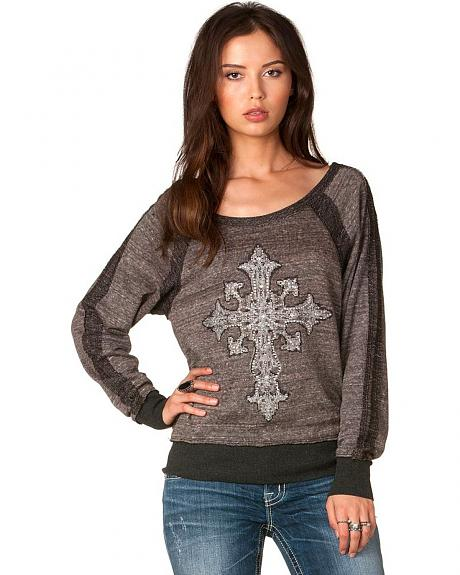 Miss Me Fancy Cross Long Sleeve Top