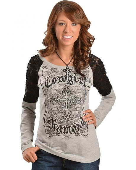 Cowgirls & Diamonds Rhinestone & Sequin Embellished Crocheted Lace Inlay Top