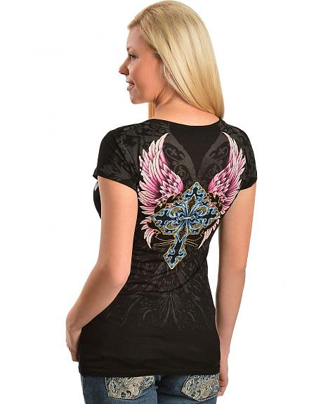 Cowgirls & Diamonds Black Rose, Cross & Wing Screenprint Tee