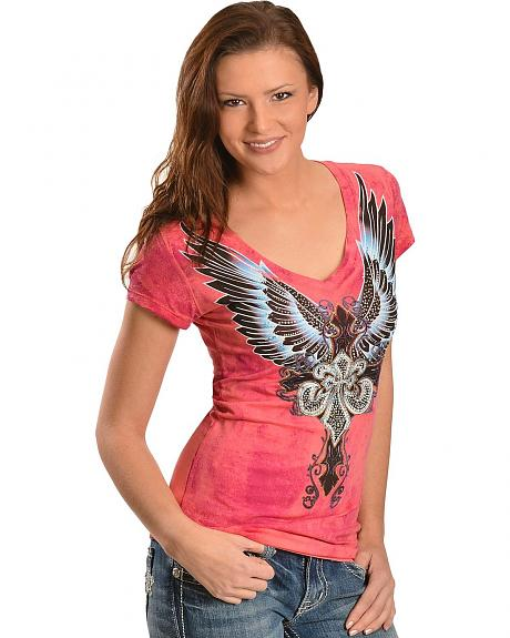 Cowgirls & Diamonds Pink Wing Screenprint Tee
