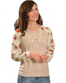 Miss Me Crocheted Neckline Floral Sleeve Sweater