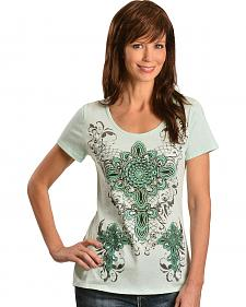 Cowgirls & Diamonds Fleur-de-lis Print Lace Back Tee