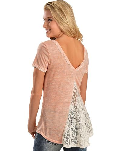 Miss Me Peach Slub Print Lace Inset Top