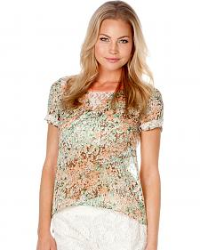 Miss Me Floral Print Lace Back Top