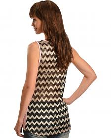 Cowgirls & Diamonds Slub Print Zigzag Lace Back Sleeveless Top