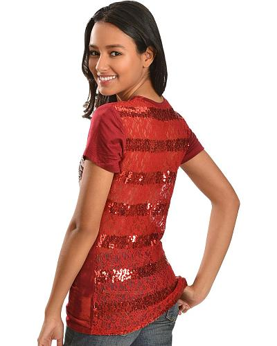 Cowgirls & Diamonds Red Lace Back with Wings & Roses Short Sleeve Top Western & Country CD411R