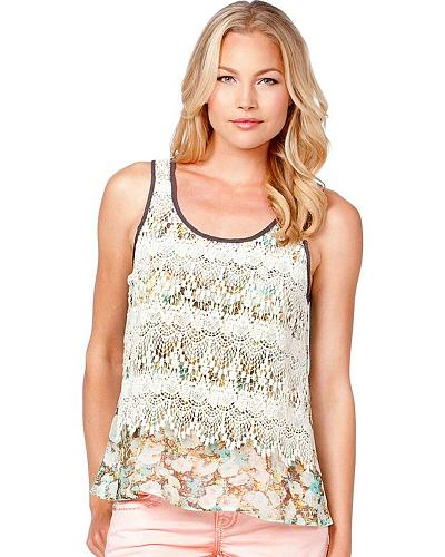 Miss Me Floral Lace Overlay Tank Top