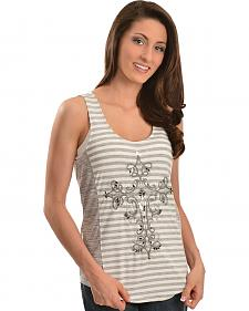 Miss Me Striped & Burnout Embellished Cross Embroidered Tank Top