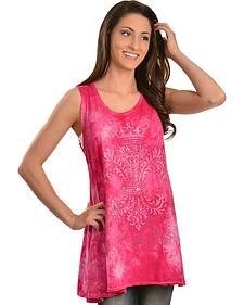 Petrol Pink Tie Dyed Bedecked Fleur-de-lis Tank Top
