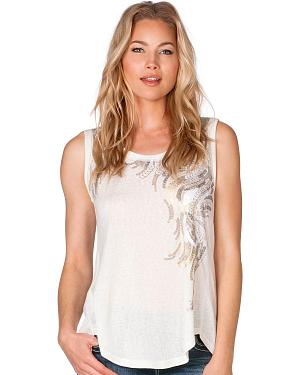 Miss Me Sequin Detail Tank in Off-White