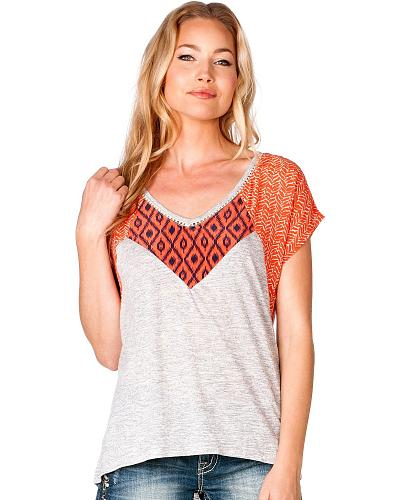 Miss Me Mixed Print Top