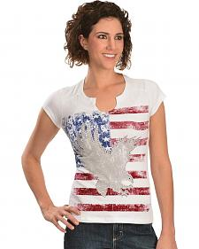 Liberty Wear American Flag & Eagle Embellished Tee