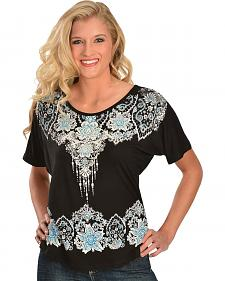 Embellished Floral Print Short Sleeve Top