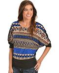 Petrol Draped Sleeve Aztec Top
