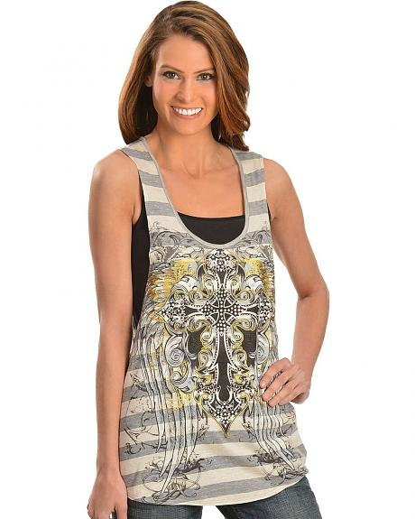 Cowgirls & Diamonds Cross Open Back Tank Top