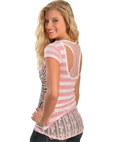 Cowgirls & Diamonds Pink Striped Sheer Lace Racerback Tee Western & Country CD452PK