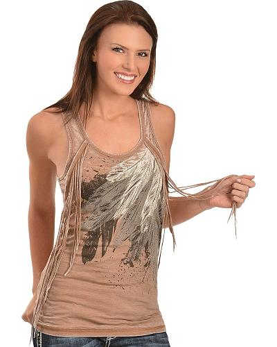 Rock & Roll Cowgirl Studded Fringe Feather Print Tank Top Western & Country 49-9025