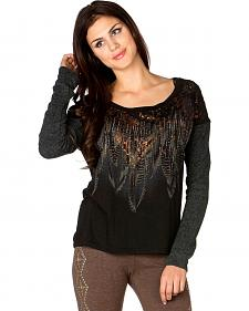 Miss Me Embellished Feather Print Pullover