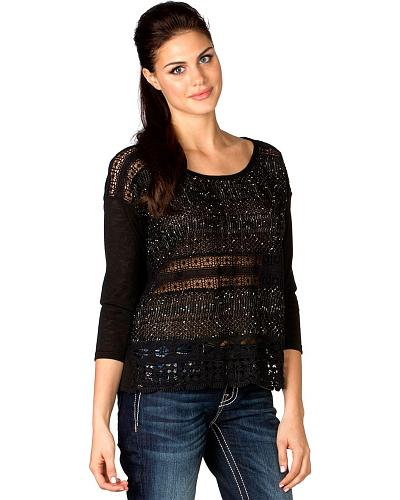 Miss Me Sheer Lace Midriff 3/4 Sleeve Top